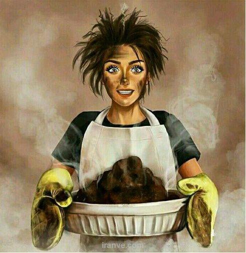 عکس دخترونه آشپزی سوزاندن غذا