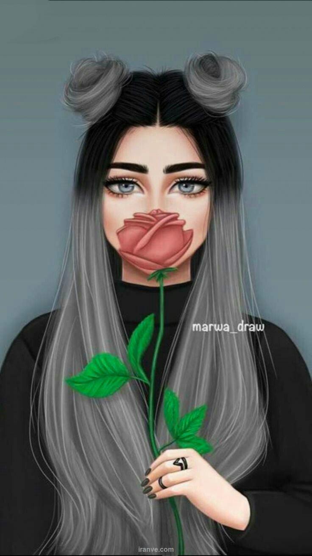 عکس دخترونه با شاخه گل رز برای پروفایل