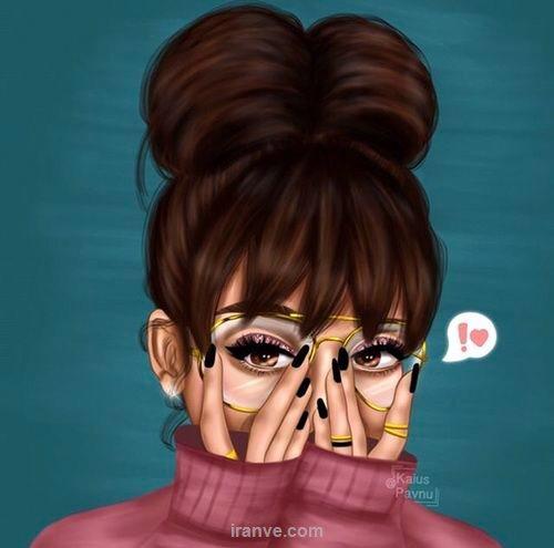 عکس پروفایل دخترونه کارتونی با لباس صورتی و عینک ری بن