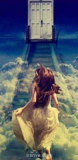 عکس پروفایل دخترونه در حال دویدن بر روی پله روی ابر ها