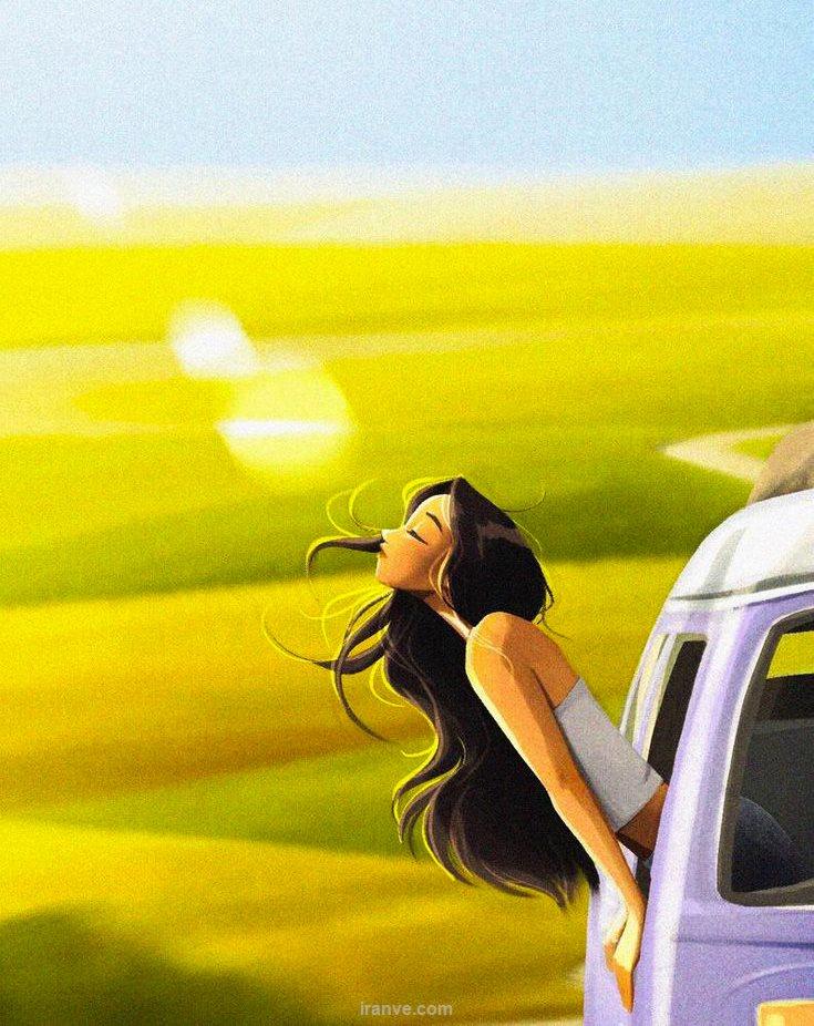 عکس دخترونه دختر داخل ماشین در دل طبیعت