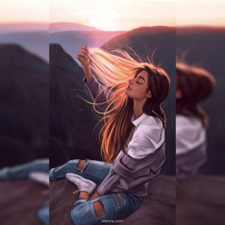 عکس پروفایل دخترونه عاشقانه نشته بر روی لبه ی پرتگاه