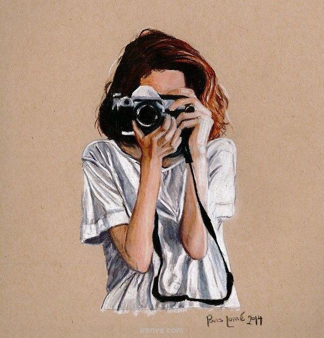 پروفایل دخترونه در حال عکاسی